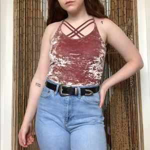 Crushed Velvet Strappy Tank Top
